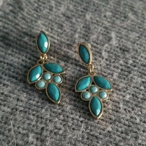 Loft teal & gold geometric shapes dangle earrings